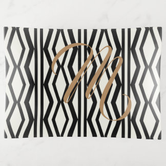 Bandeja de lujo geométrica blanca negra elegante