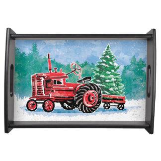 Bandeja El árbol de navidad rojo de VintageTractor añade