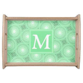 Bandeja El verde de la primavera del monograma circunda el
