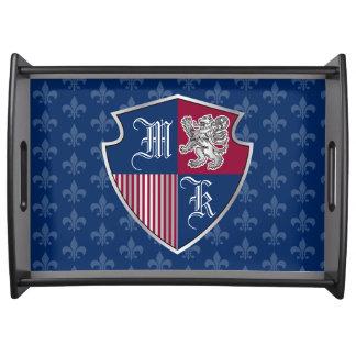 Bandeja Escudo de plata del emblema del monograma del