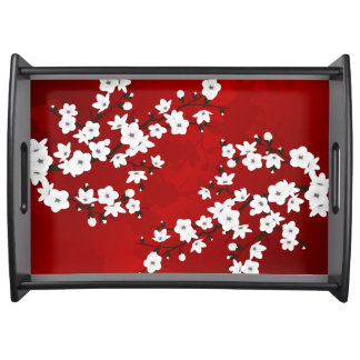 Bandeja Flor de cerezo blanco y negro roja