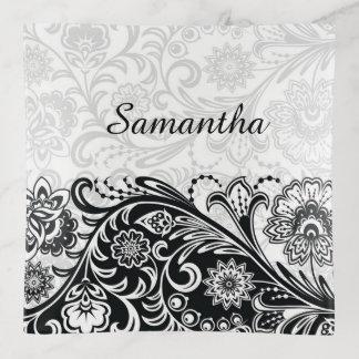 Bandeja floral blanca negra intrépida de la