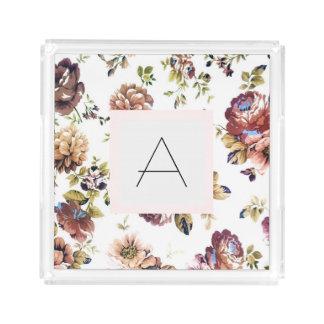 Bandeja floral del acrílico del monograma del