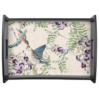 Bandeja Flores de los animales de los pájaros del Bluebird