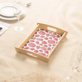 Bandeja Fresas y atascos coloridos de la acuarela