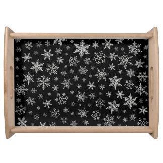 Bandeja Gris negro y de plata del copo de nieve moderno 2