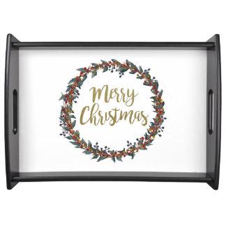 Bandeja Guirnalda de la acuarela - Felices Navidad - ramas