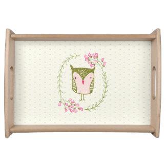 Bandeja Guirnalda floral y corazones del búho lindo