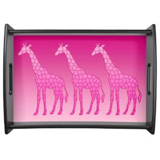 Bandeja Jirafa geométrica moderna, fucsia y rosa claro