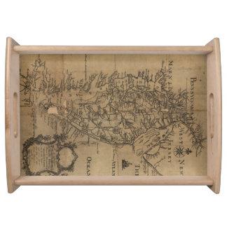 Bandeja Mapa del vintage de la bahía de Chesapeake (1778)