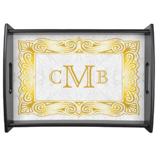Bandeja Mármol adornado del blanco del marco del monograma