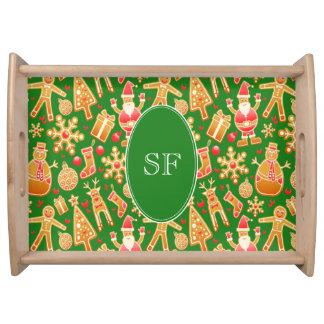 Bandeja Monograma festivo del pan de jengibre de Santa y
