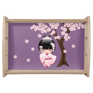 Bandeja Muñeca blanca de Kokeshi del kimono - chica de