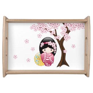 Bandeja Muñeca de Kokeshi de la primavera - chica de
