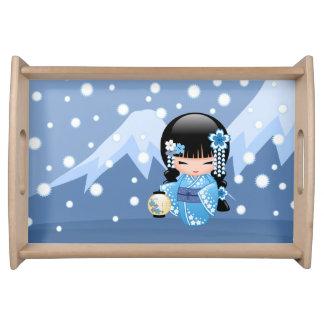 Bandeja Muñeca de Kokeshi del invierno - chica de geisha