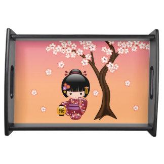Bandeja Muñeca de Sakura Kokeshi - chica de geisha en el