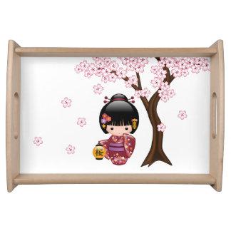 Bandeja Muñeca de Sakura Kokeshi - chica de geisha japonés