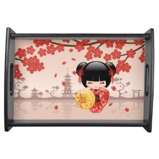 Bandeja Muñeca roja de Sakura Kokeshi - geisha japonés
