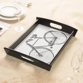 Bandeja negra blanca de la porción de la bicicleta