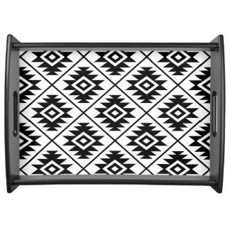 Bandeja Negro grande estilizado de Ptn del símbolo azteca