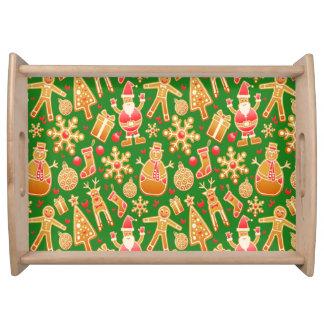 Bandeja Pan de jengibre festivo de Santa y del muñeco de