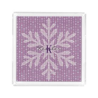 Bandeja púrpura del monograma del copo de nieve