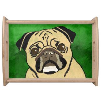 Bandeja Retrato del arte de la acuarela del perro del