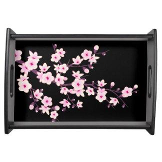 Bandeja Rosa floral del negro de las flores de cerezo