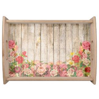 Bandeja Rosas románticos rústicos del vintage de madera