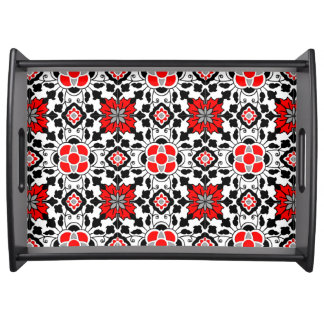 Bandeja Teja marroquí floral, de color rojo oscuro, blanco