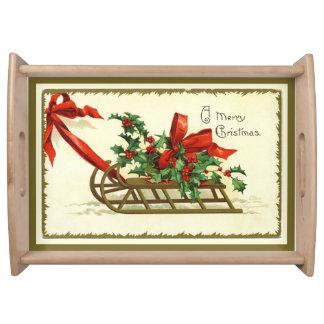 Bandeja Trineo de oro de las Felices Navidad del vintage