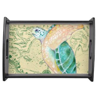 Bandeja Vintage del mapa del moreno de la tortuga de mar