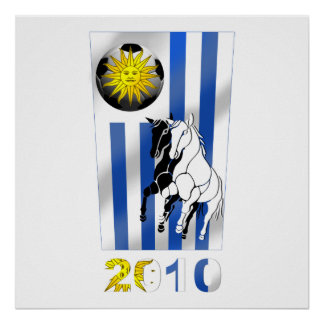 Bandera 2010 de Futbol Churruas del fútbol de Urug Póster