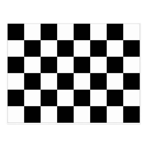 Bandera a cuadros blanco y negro el competir con postal | Zazzle