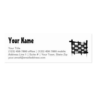 Bandera a cuadros del cepillo que compite con tarjetas de visita mini