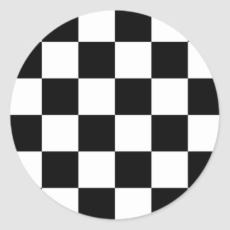 Bandera a cuadros el competir con auto etiquetas redondas