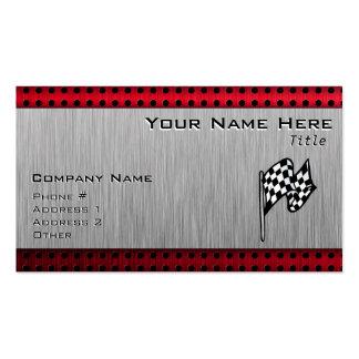 Bandera a cuadros; mirada de aluminio cepillada tarjetas de negocios