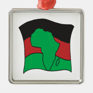 Bandera africana adorno cuadrado plateado