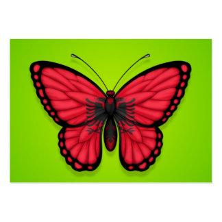 Bandera albanesa de la mariposa en verde plantillas de tarjetas personales