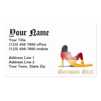 Bandera alemana de la silueta del chica tarjetas de visita
