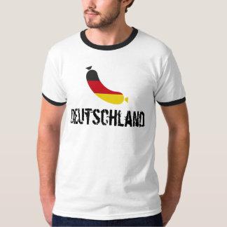 Bandera alemana en una salchicha, el wurst del camiseta