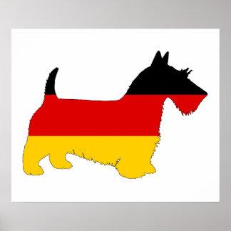 Bandera alemana - terrier escocés póster