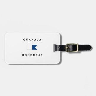Bandera alfa de la zambullida de Guanaja Honduras Etiquetas Maleta