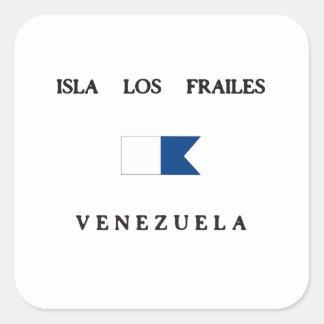 Bandera alfa de la zambullida de Isla Los Frailes Pegatina Cuadrada