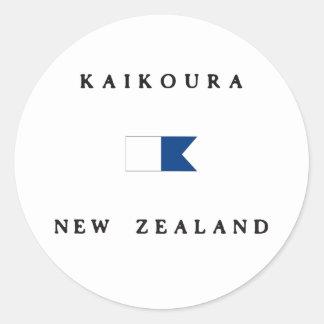 Bandera alfa de la zambullida de Kaikoura Nueva Etiqueta Redonda