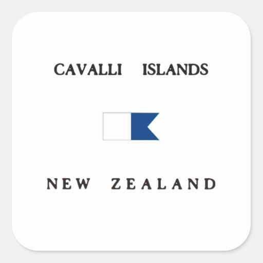 Bandera alfa de la zambullida de Nueva Zelanda de Calcomanía Cuadradas