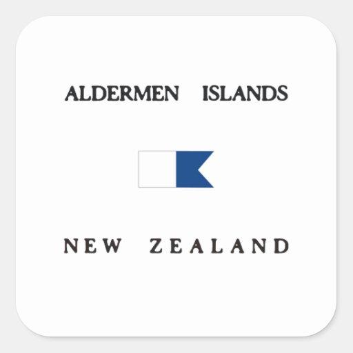 Bandera alfa de la zambullida de Nueva Zelanda de Pegatina Cuadradas Personalizadas