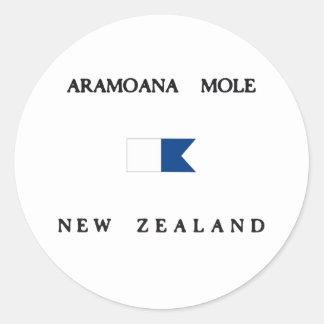 Bandera alfa de la zambullida de Nueva Zelanda del Etiquetas Redondas