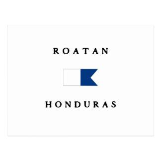 Bandera alfa de la zambullida de Roatan Honduras Postal