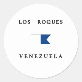 Bandera alfa de la zambullida del Los Roques Pegatina Redonda